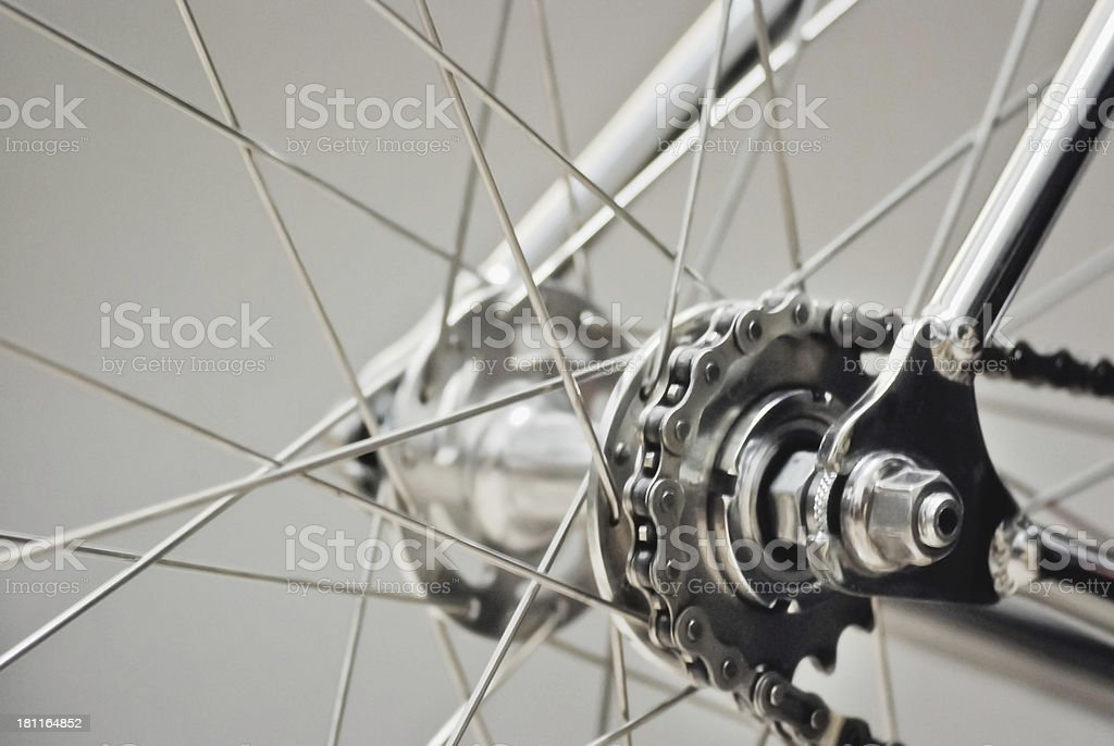 Bicycle rear wheel with chain & sprocket stock photo