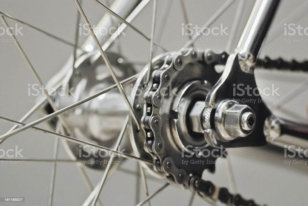 Bicycle rear wheel with chain & sprocket royalty-free stock photo