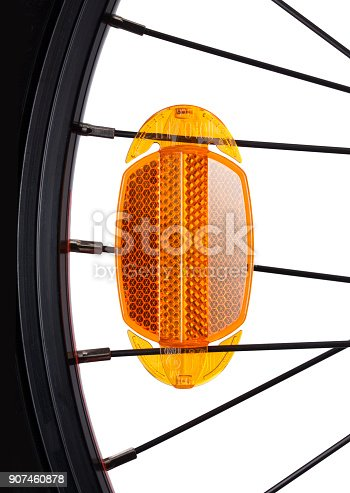 Bicycle reflector on white background.