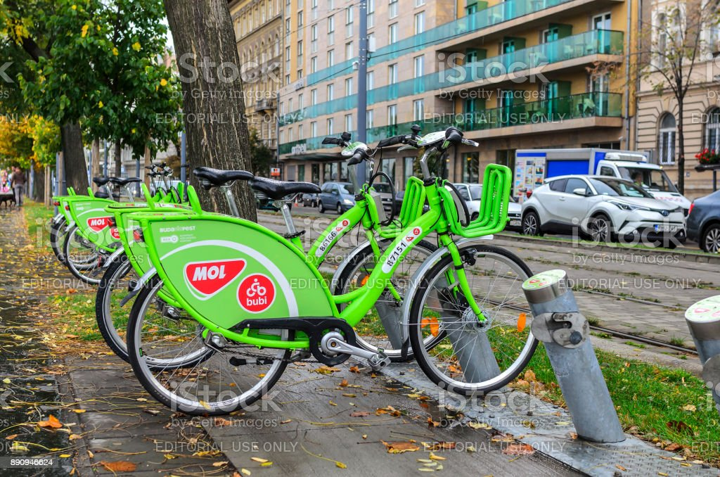 Bicycle rental in Budapest. stock photo