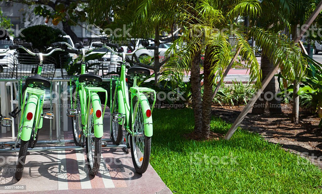 Bicycle Rental in Miami stock photo