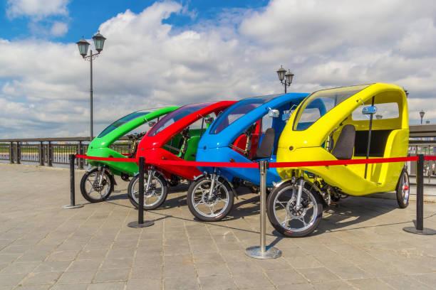 Cтоковое фото Bicycle rental on the embankment in Kazan