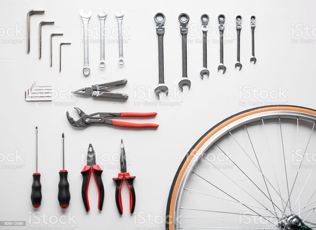 Bicycle repair kit stock photo