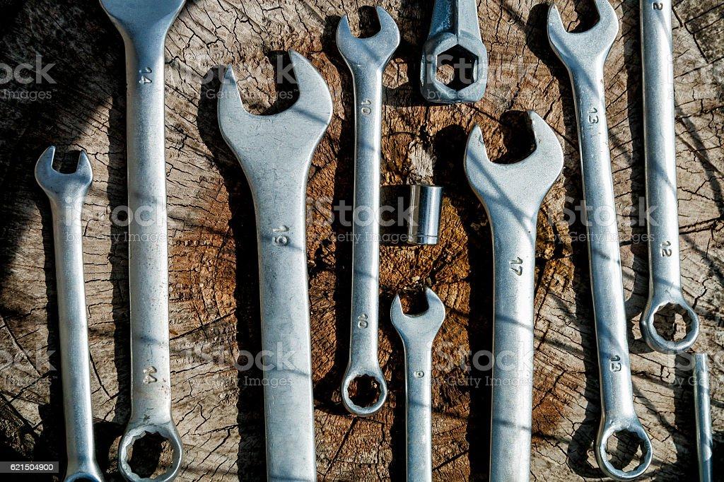 Bicycle repair. Tools, instrument for repairing bike Lizenzfreies stock-foto
