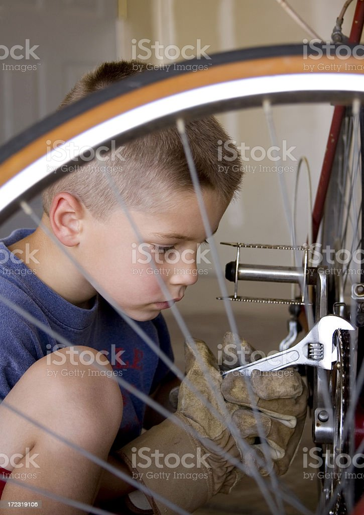 Bicycle Repairman royalty-free stock photo