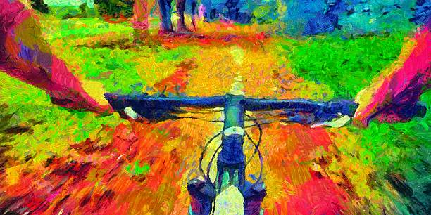 Bicycle ride pov acid colors psychedelic painting stock photo