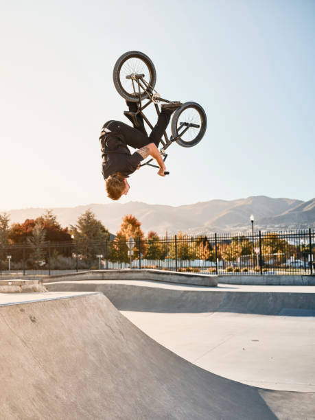 Bicycle Rider in a Skate Park stock photo