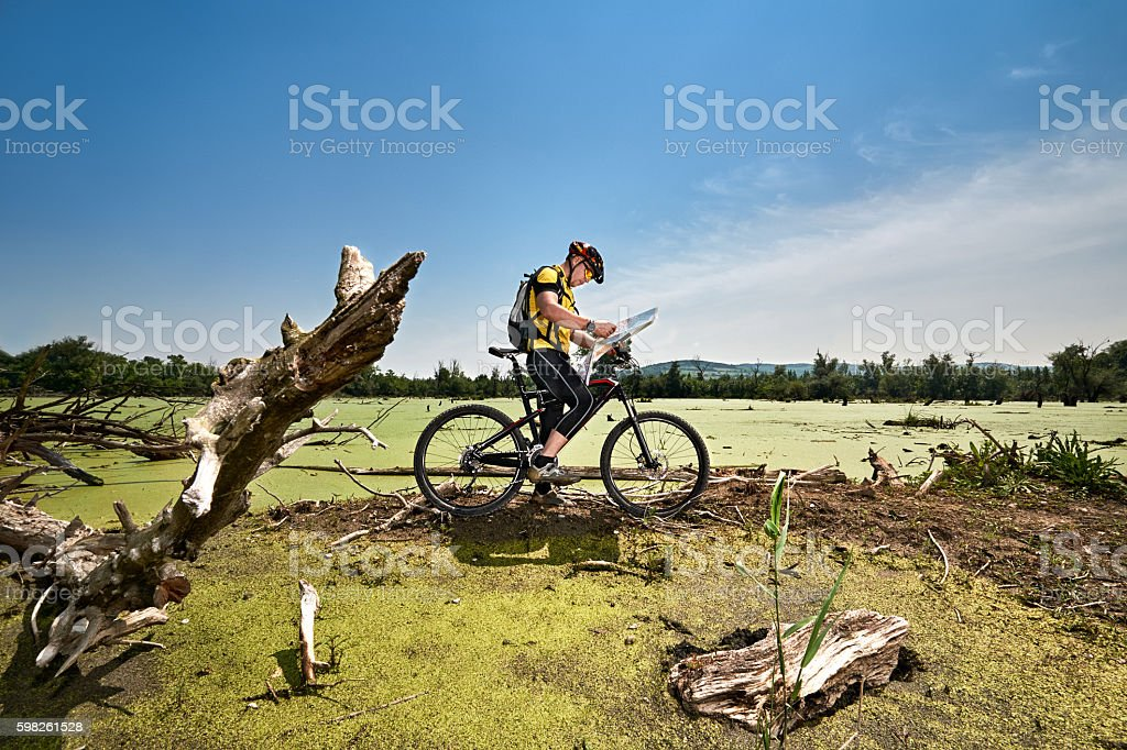 Bicycle rider in the swamp stock photo