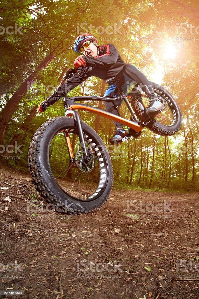Bicycle rider in the woods stock photo