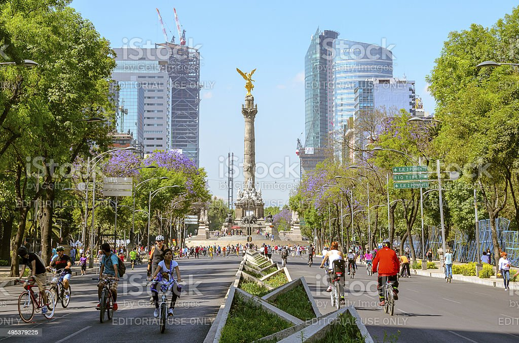 Bicycle riders on Sunday mornings in Mexico City stock photo