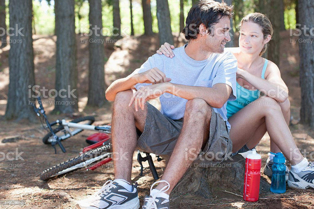 bicycle riders relaxing in remote area royalty-free stock photo