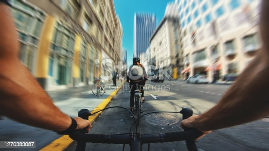 POV bicycle riding: man with road racing bike in San Francisco