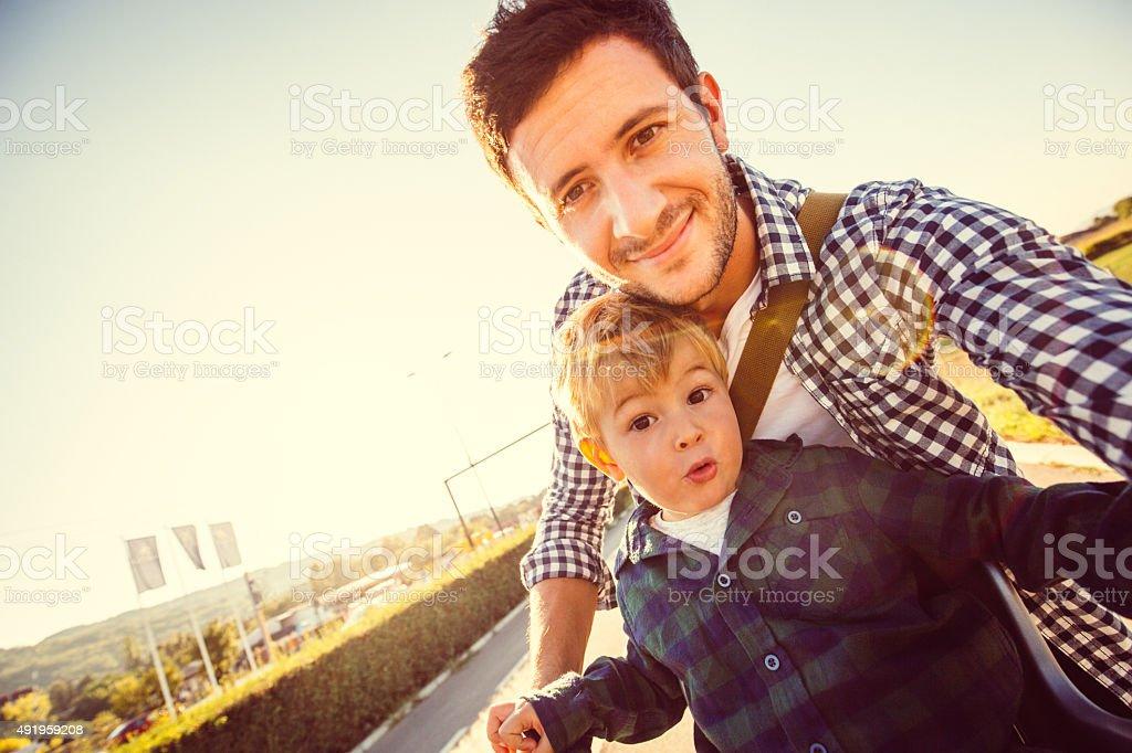 Bicycle selfie stock photo