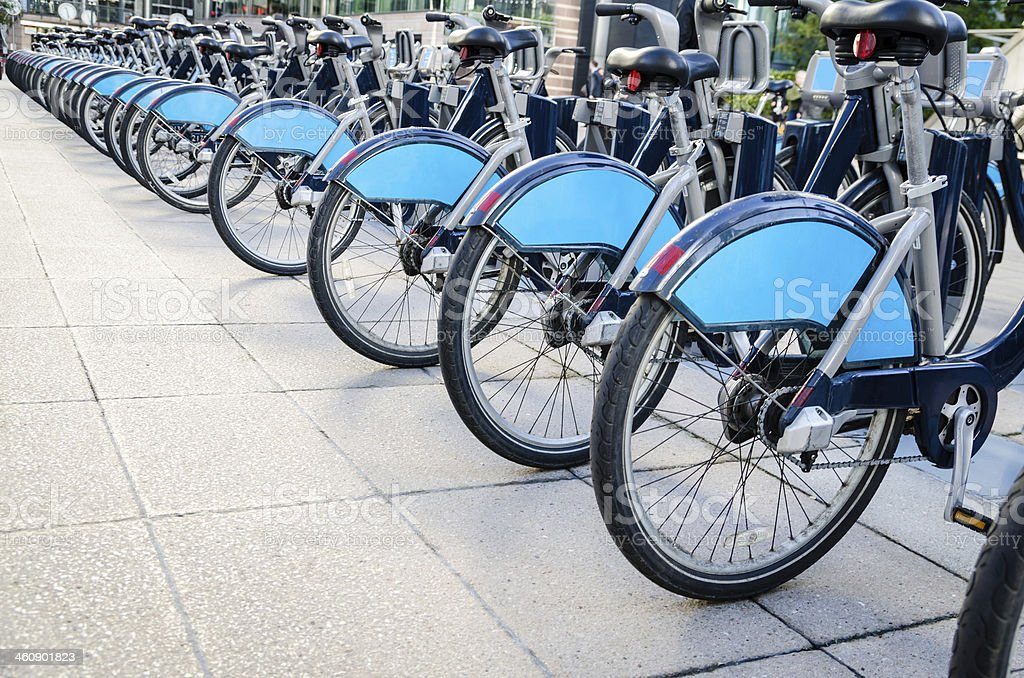 Bicycle sharing in London stock photo