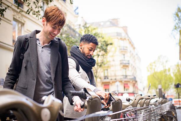 Bicycle Sharing Paris France stock photo