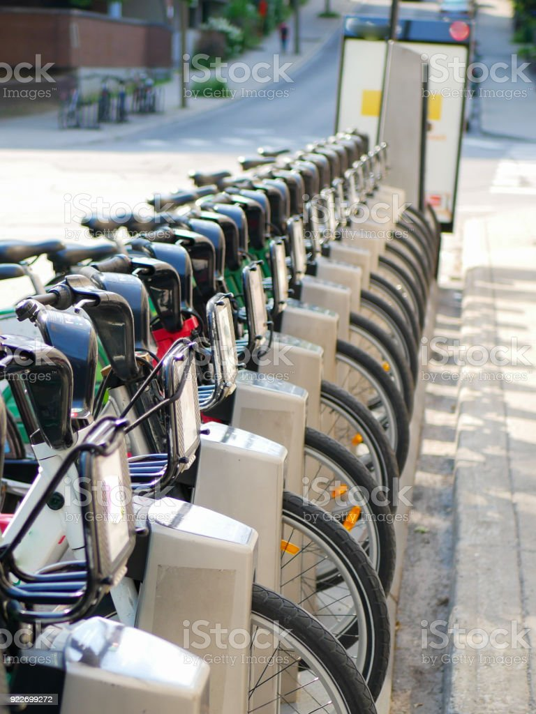 Bicycle sharing service near a bicycle path in Montreal, Quebec, Canada stock photo
