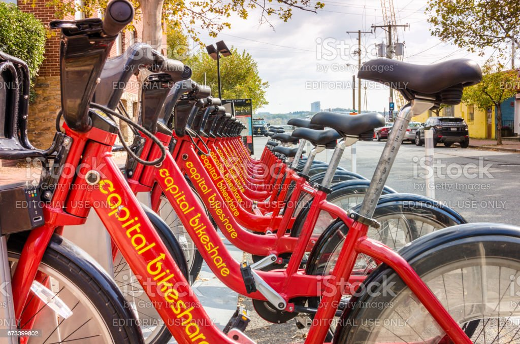 Bicycle Sharing Station in Old Town Alexandria, VA stock photo