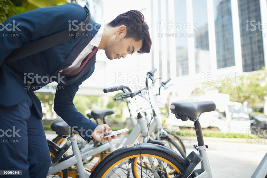 Bicycle sharing system in Kuala Lumpur smart city. stock photo