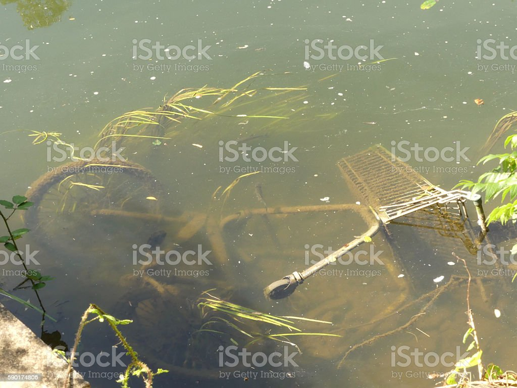 Bicycle, shopping trolley and fish in canal stock photo