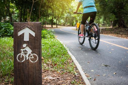 Fahrradschild Fahrradweg In Öffentlichen Park Stockfoto und mehr Bilder von 2015