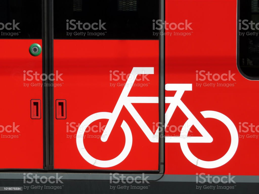 Bicycle sign on the door of the train car stock photo