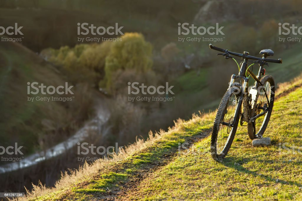 Bicycle silhouettes with bl royalty-free stock photo