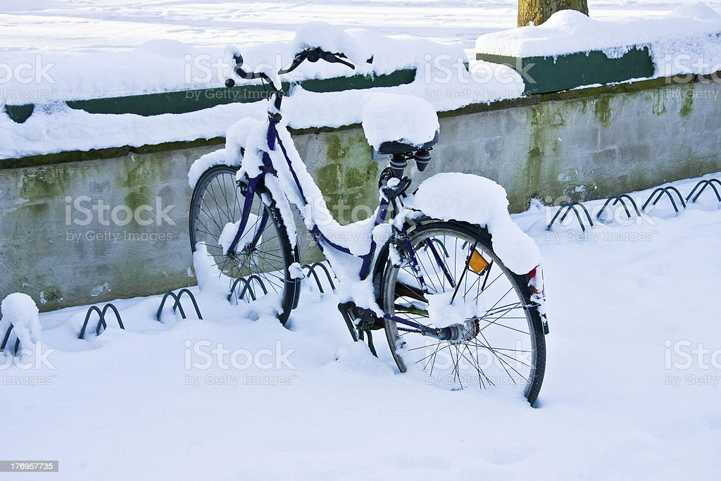 Bicycle snowed in stock photo