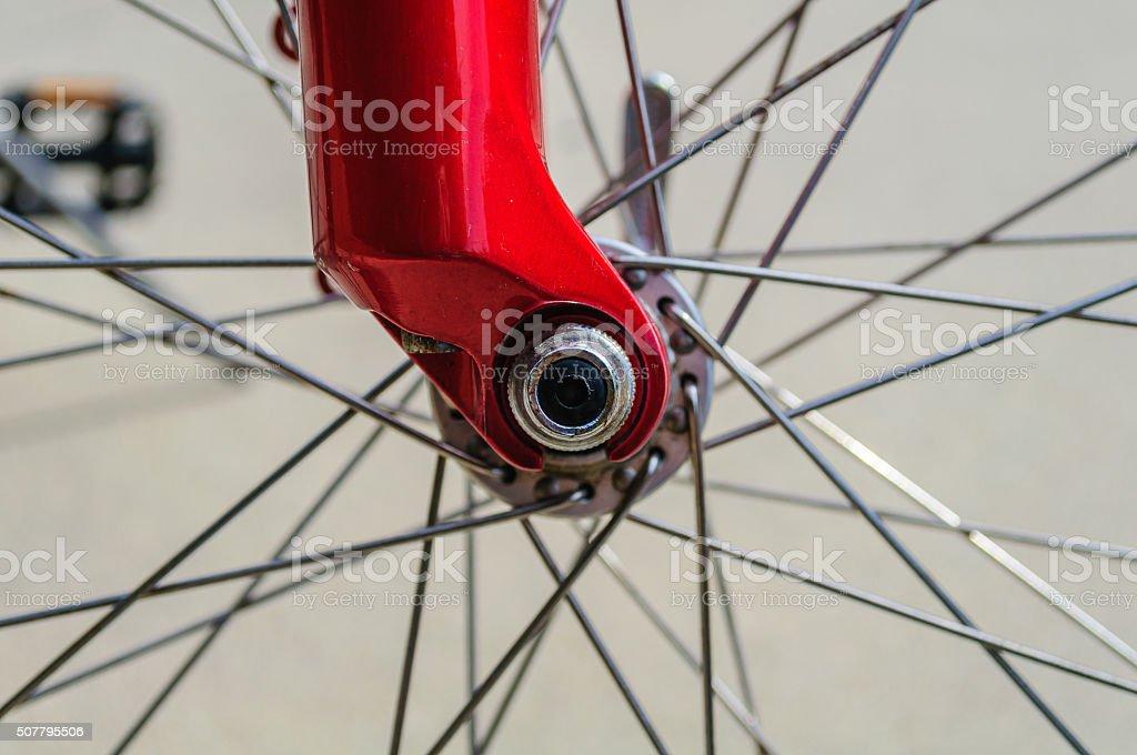 Bicycle Spoke Close Up stock photo
