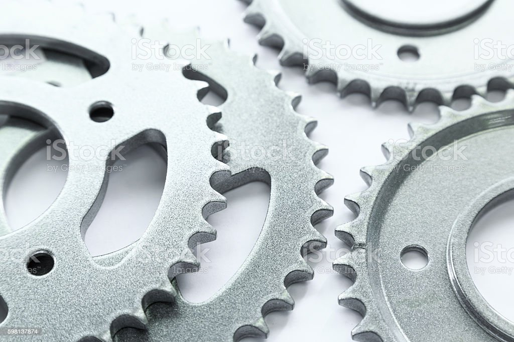 Bicycle sprocket coated with coating powder stock photo