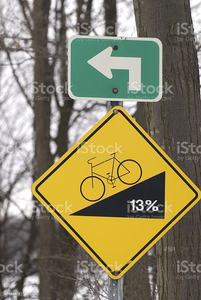 Bicycle steep grade royalty-free stock photo