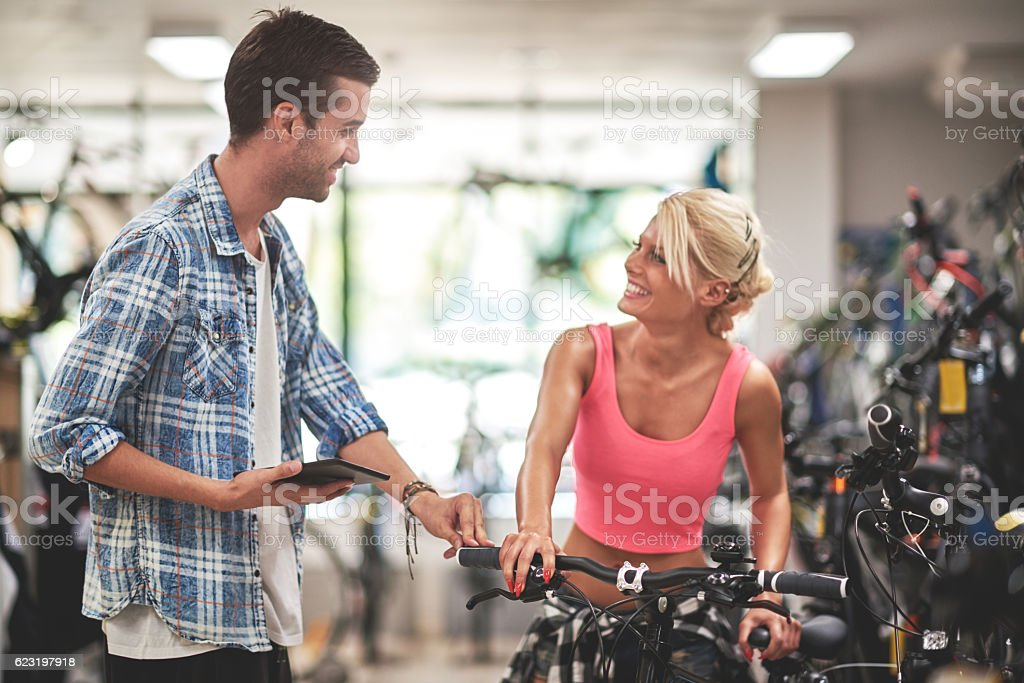 Bicycle store stock photo