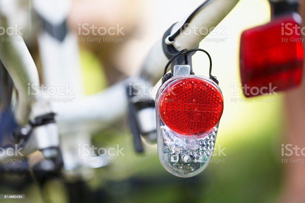 bicycle tail light close-up stock photo