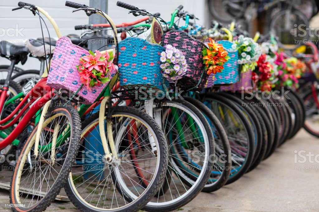 Bicycle time for riding. stock photo