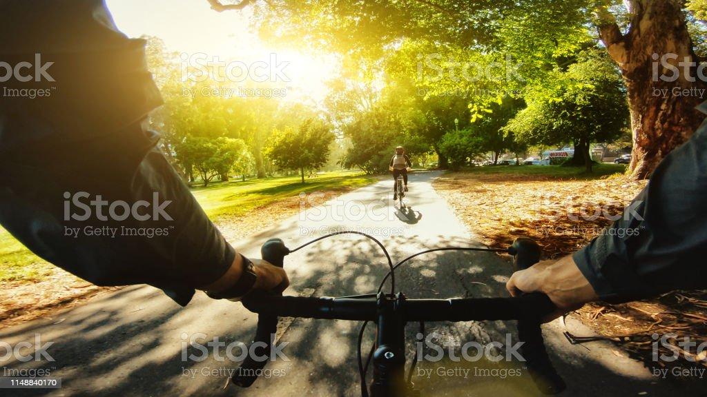 POV-Fahrrad: Touristen im Park von San Francisco - Lizenzfrei Actionfilm Stock-Foto