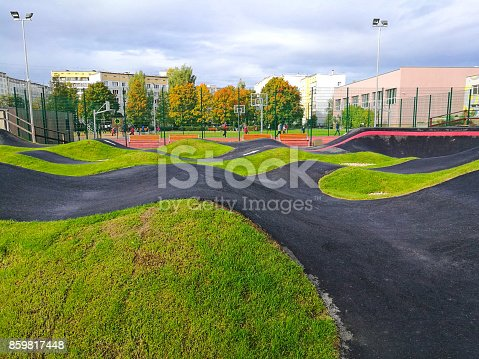 istock Bicycle track road. 859817448