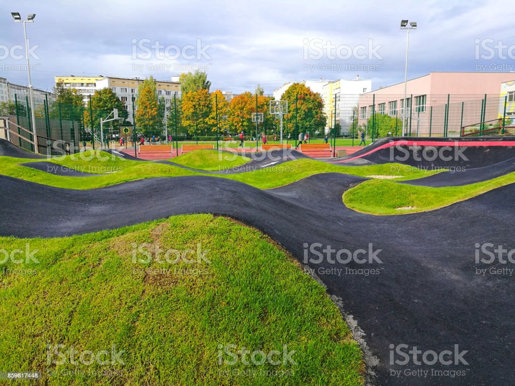 Bicycle track road. stock photo