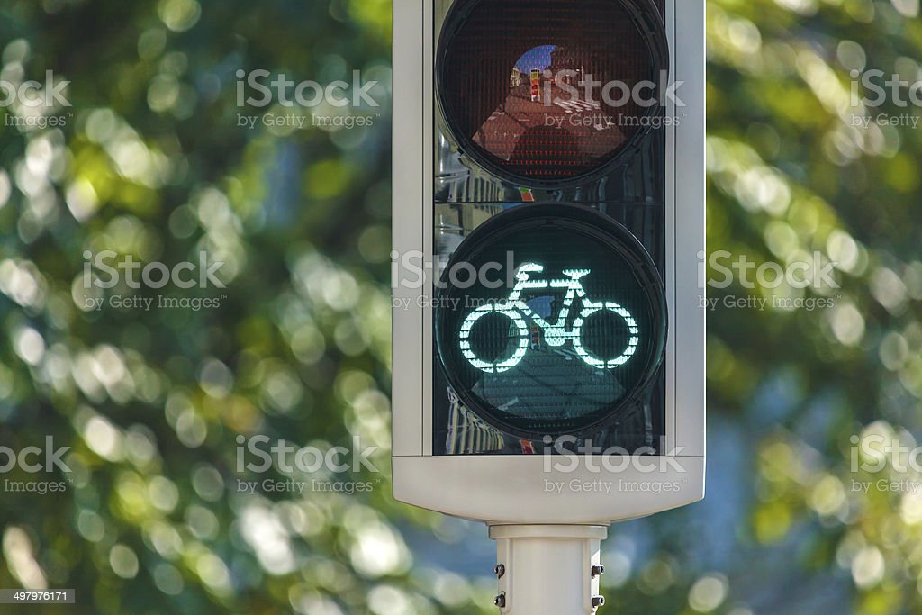 Bicycle traffic light in The Netherlands stock photo
