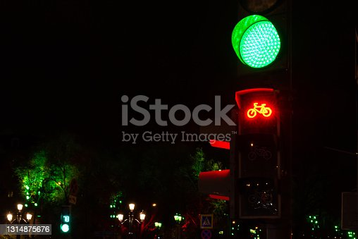 istock Bicycle traffic lights in Moscow 1314875676