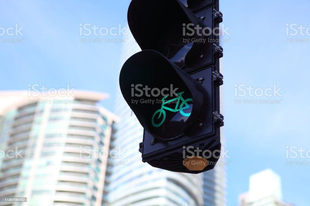 Bicycle traffic signal, green light, road bike, free bike zone or...