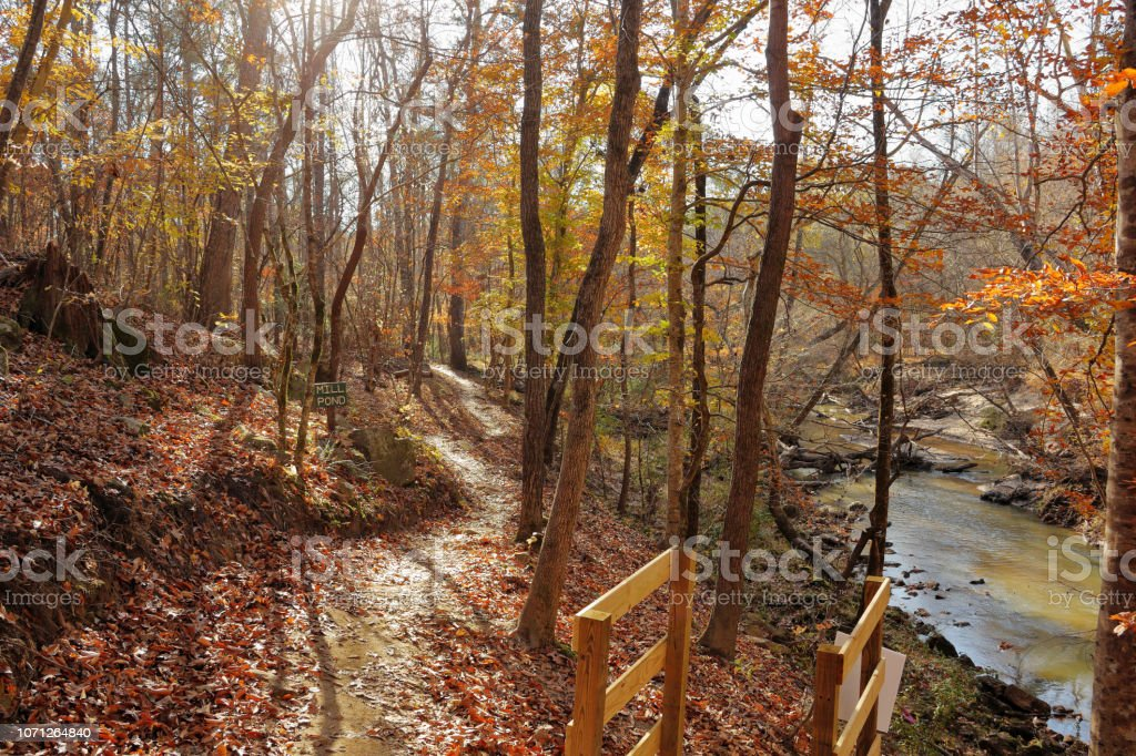 Bicycle trail Autumn views, November in South Carolina stock photo