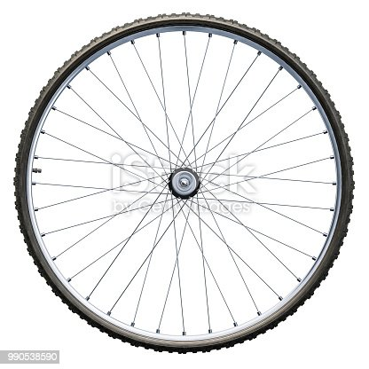 Bicycle wheel closeup. 3D rendering isolated on white background