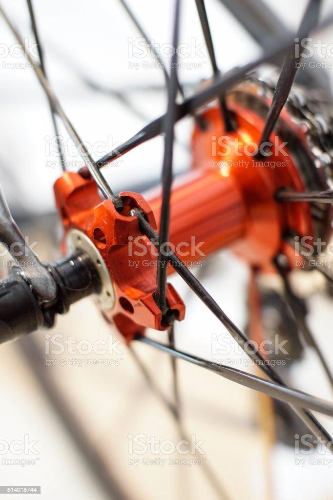 bicycle wheel hub stock photo