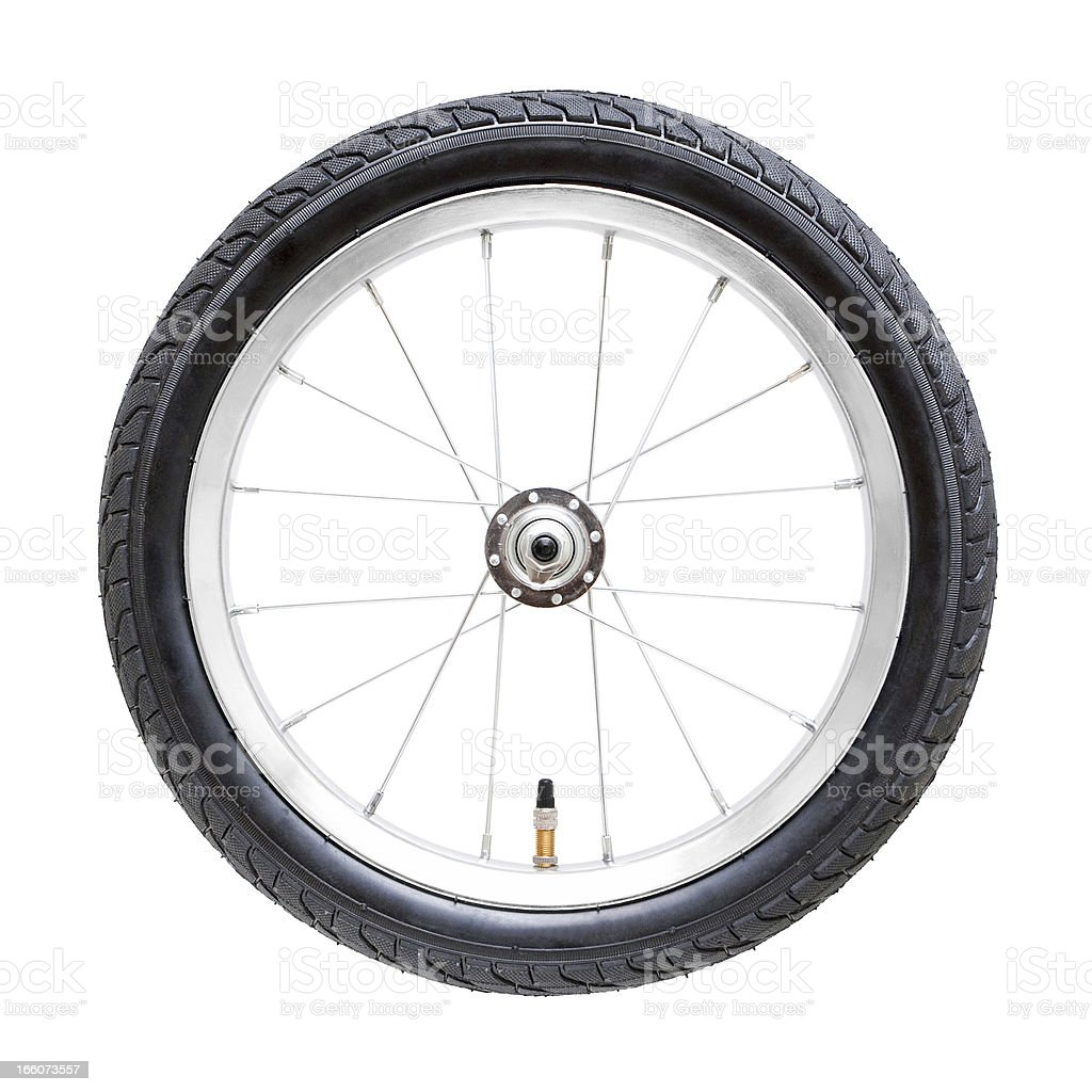Bicycle wheel (Clipping Path) isolated on while background stock photo