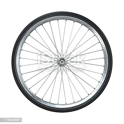 Bicycle wheel isolated on white background. Side view. 3d rendering