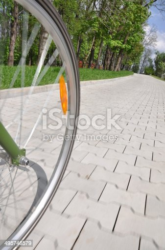 Bicycle wheel on an alley in a park in motion