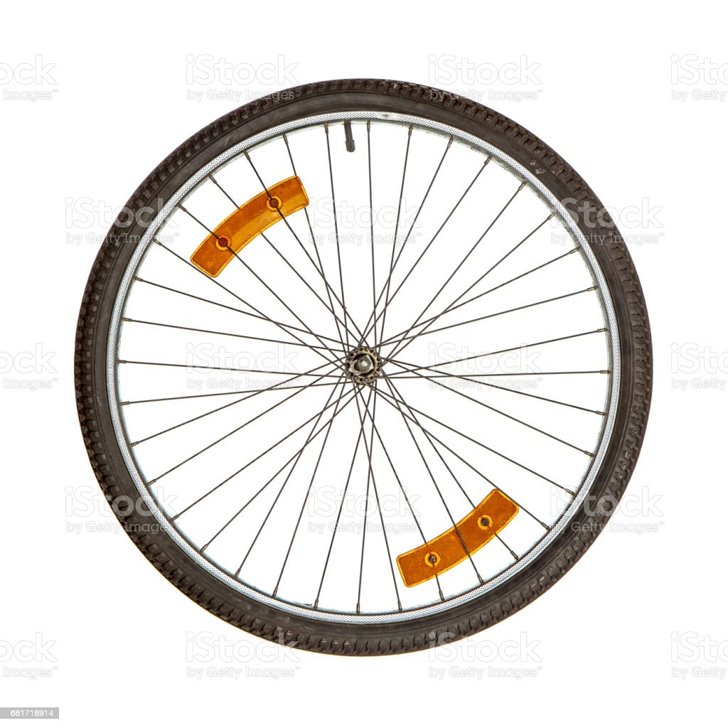 Bicycle wheel on white stock photo