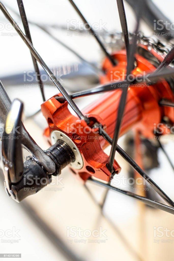 bicycle wheel quick release stock photo