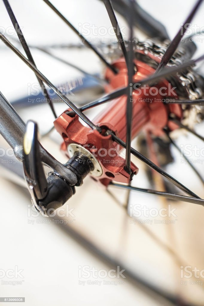 bicycle wheel with quick release mechanism stock photo