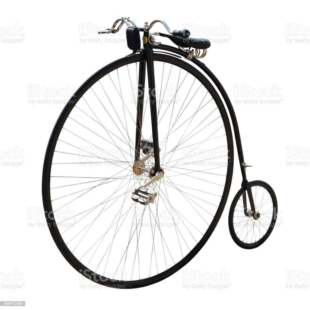Bicycle with a large front wheel. stock photo