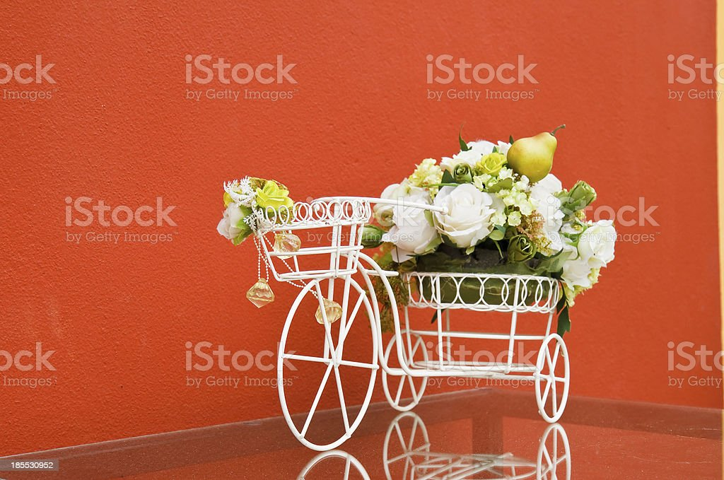 bicycle with artificial flower royalty-free stock photo